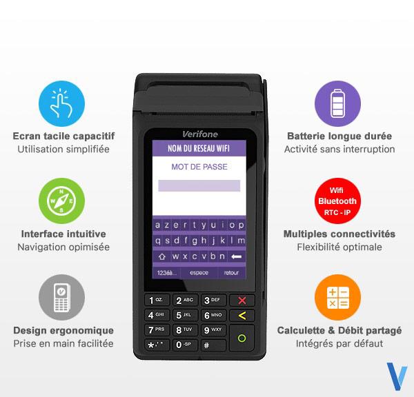 Les fonctionnalites du tpe sans-fil Verifone v240m WIFI Bluetooth Internet